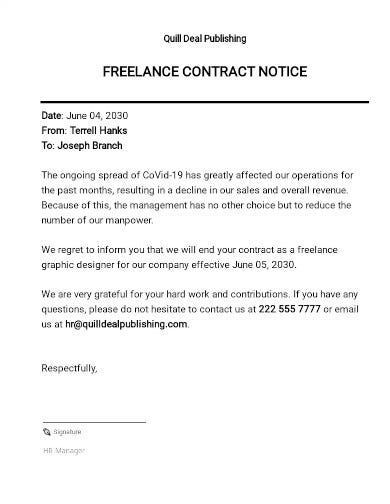 freelance contract notice template