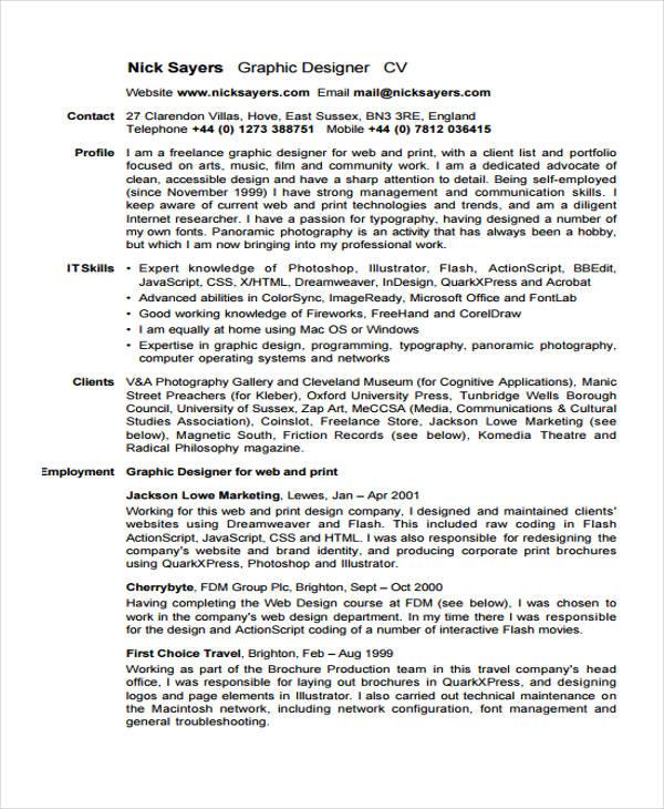 7 Graphic Curriculum Vitae Templates Pdf Doc Free