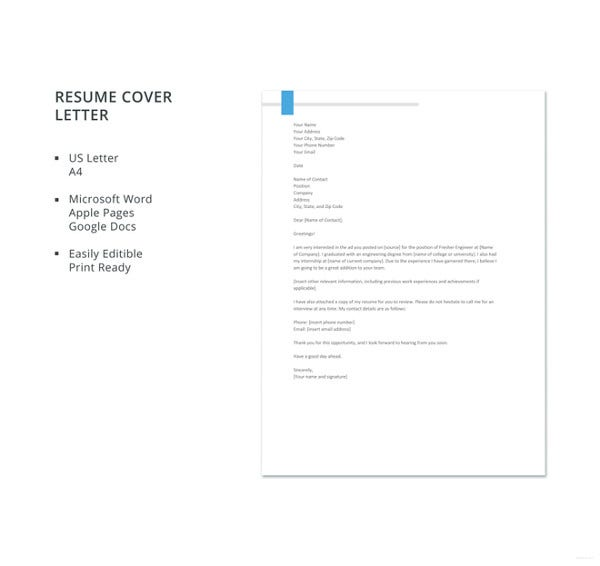 fresher-engineer-resume-cover-letter-template