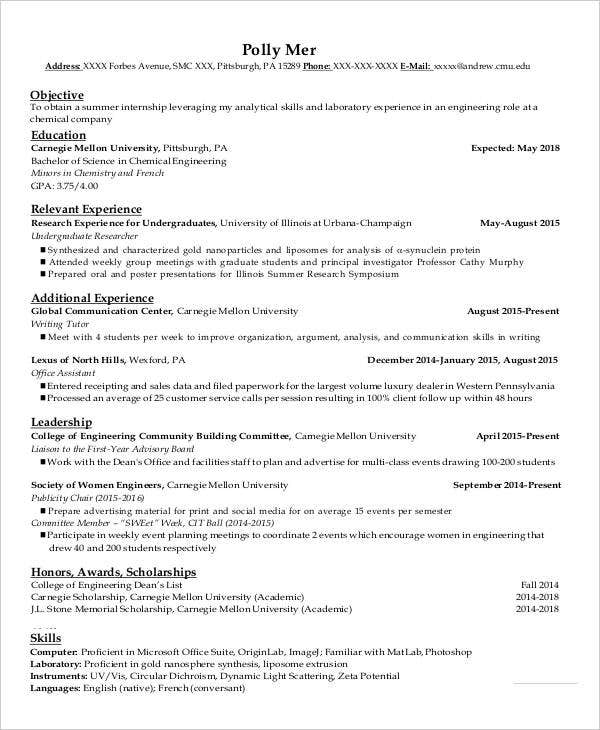 Scholarship Resume Example  Resume Examples And Free Resume Builder