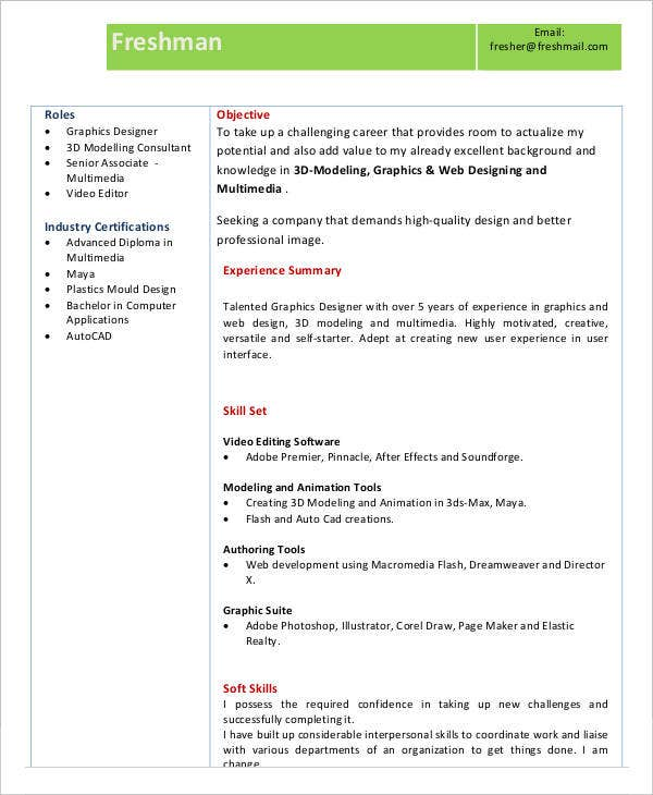Fresher Resume Example PDF