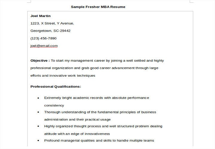 fresher resume for mba