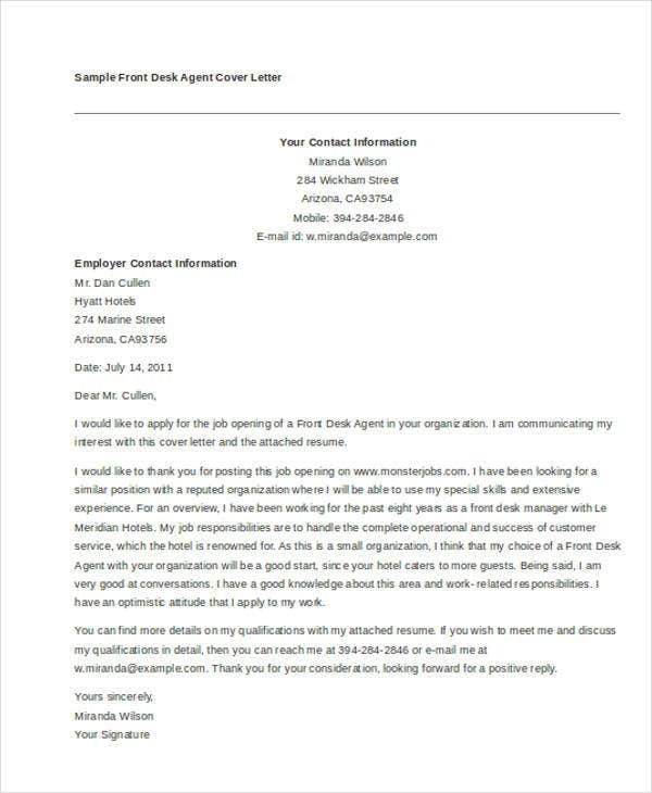 11  front desk cover letter templates