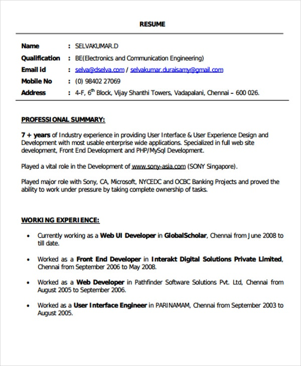 front end resume