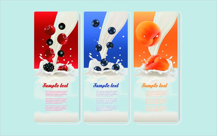 fruits with milk banner