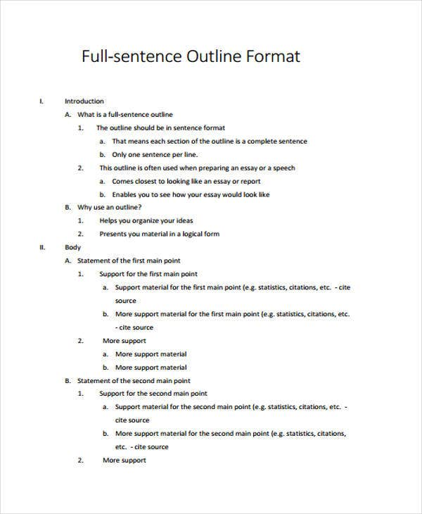 full sentence outline