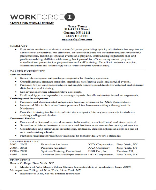executive functional resume
