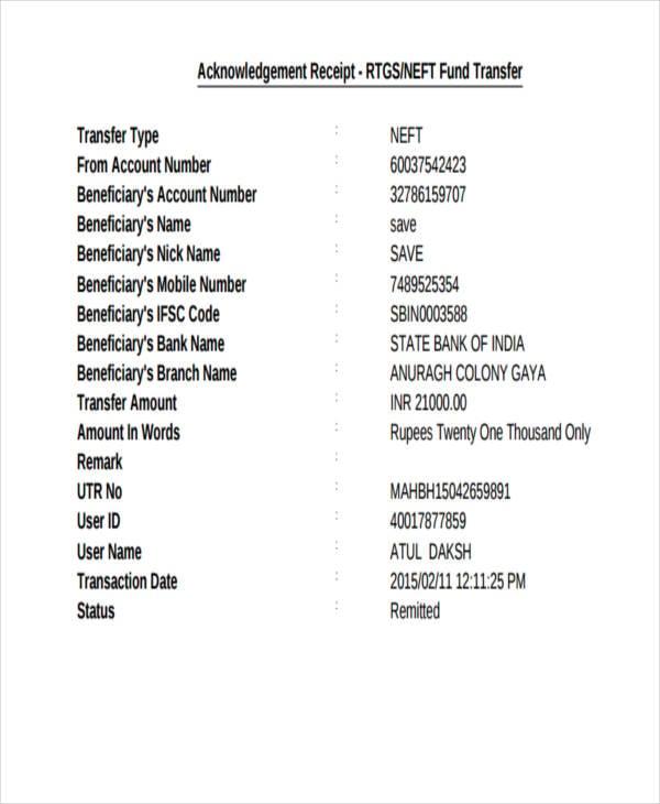 Transfer Receipt Templates - 9+ Free Word, PDF Format