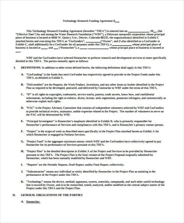 Funding Agreement Templates Free Samples Examples Format - Funding agreement template
