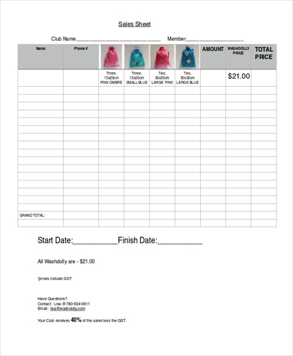 Sales Sheet Templates  Free Sample Example Format Download