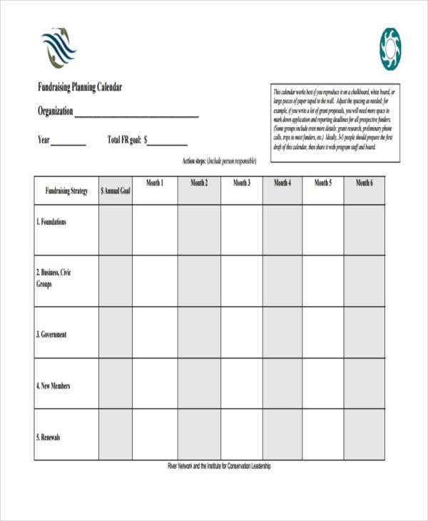 Planning Calendar Templates  Free Sample Example Format