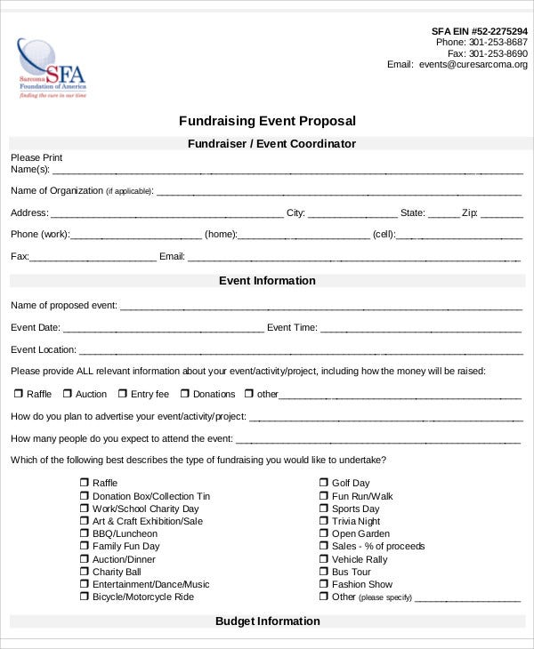 8 Fundraising Event Proposal Templates Free Sample Example Format