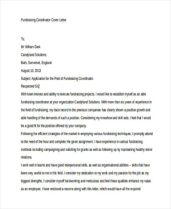 10 Job Cover Letters Free Sample Example Format Download – Project Coordinator Cover Letter Example