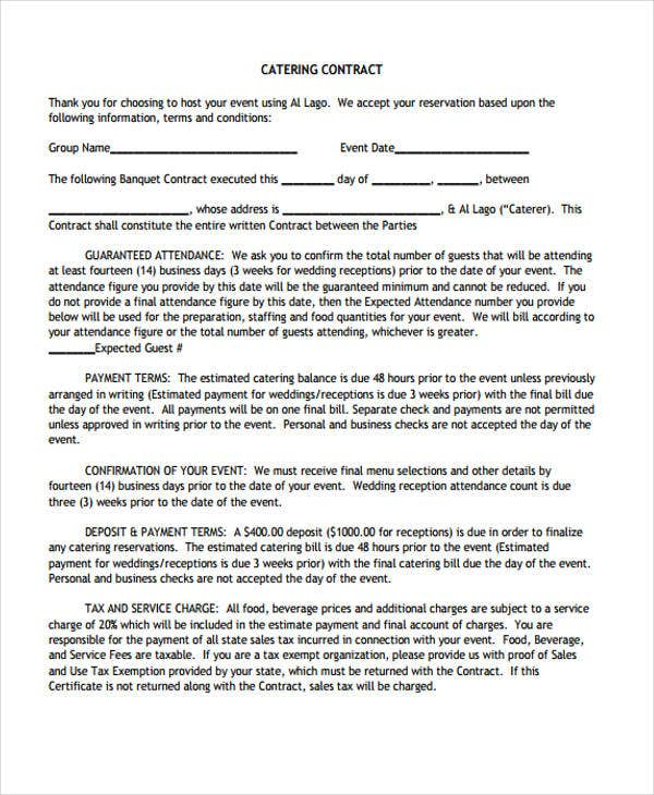 generic terms and conditions template - sle catering invoice