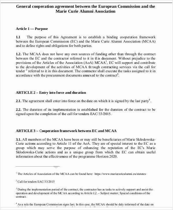 9+ Cooperation Agreement Templates - Free Sample, Example Format ...