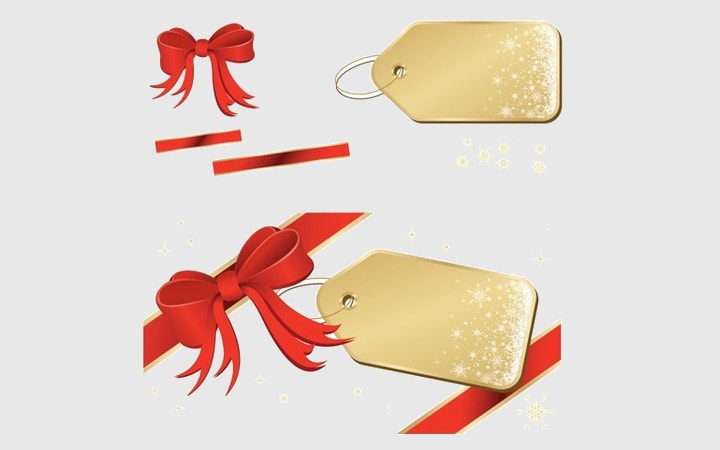 golden tag with ribbon