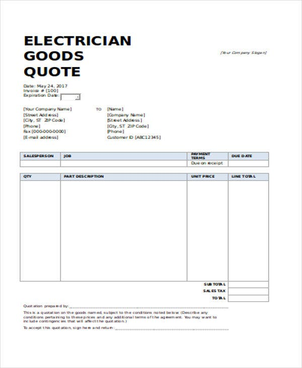 Astounding 11 Electrical Quotation Templates Pdf Google Docs Apple Pages Wiring 101 Akebretraxxcnl