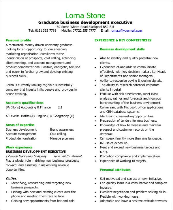 Graduate Business Development Executive