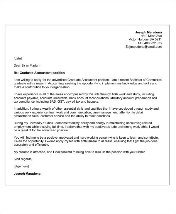 Graduate Accountant Cover Letter  Accounting Cover Letter