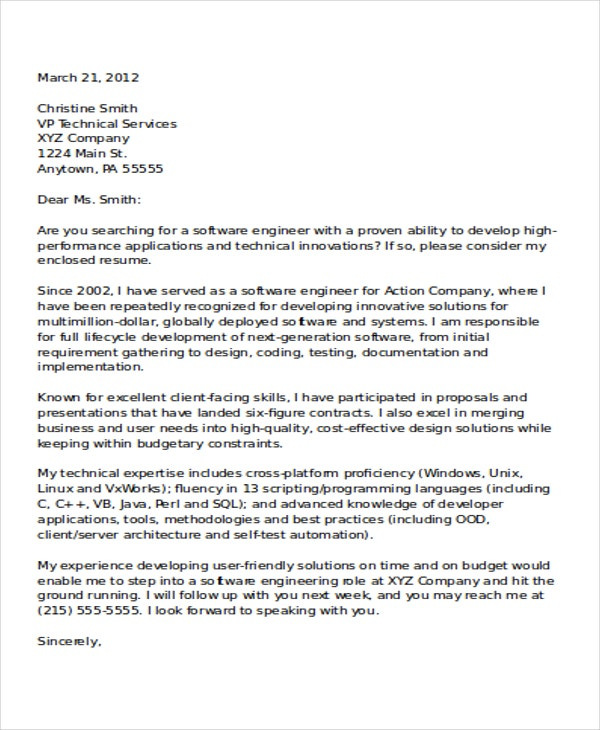 software developer cover letter This is a sample letter format for an employee to apply for a job software  developer position at an it company this formal business cover letter can be e- mailed,.
