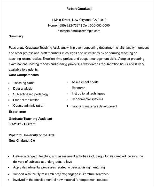 Graduate Teaching Assistant Resume Sample