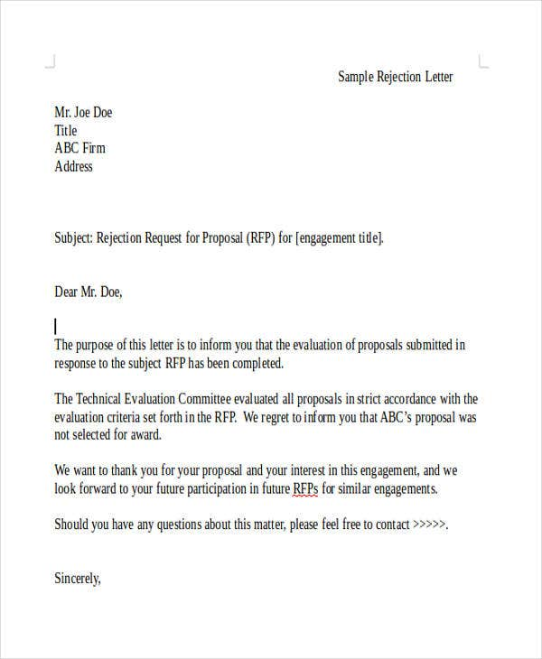 Grant Rejection Letter Templates  Free  Premium Templates