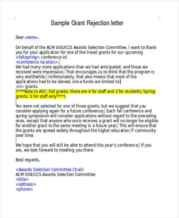 grant resume rejection