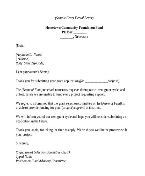 grant thank you letter template rejection thank you letter 9 free word pdf format