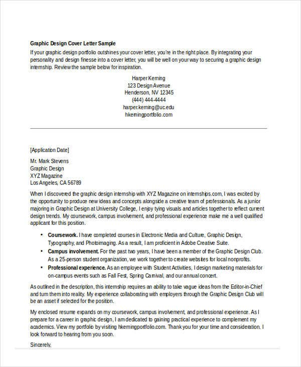 Internship Cover Letter - 10+ Free Word, Pdf Format Download