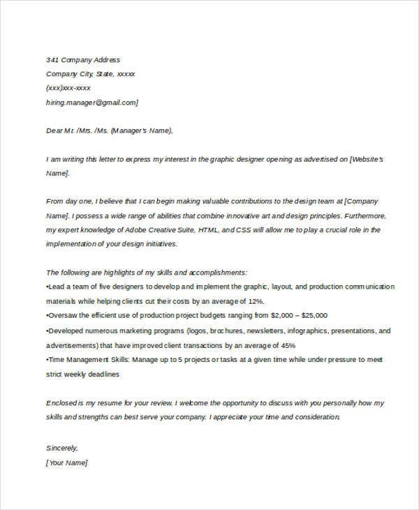 Graphic Design Cover Letter  Business Cover Letter Sample