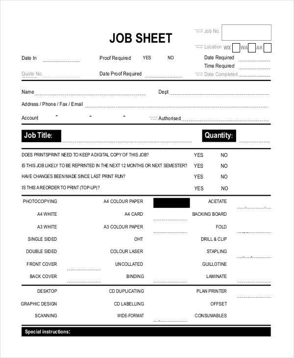Job Sheet Templates  Free Sample Example Format Downlaod  Free