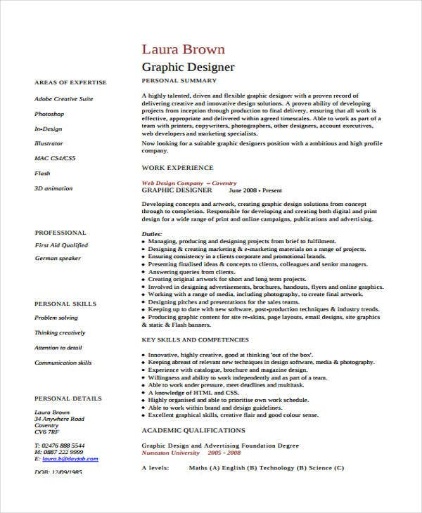 Graphic curriculum vitae templates 7 free word pdf format graphic designer curriculum vitae yelopaper Image collections