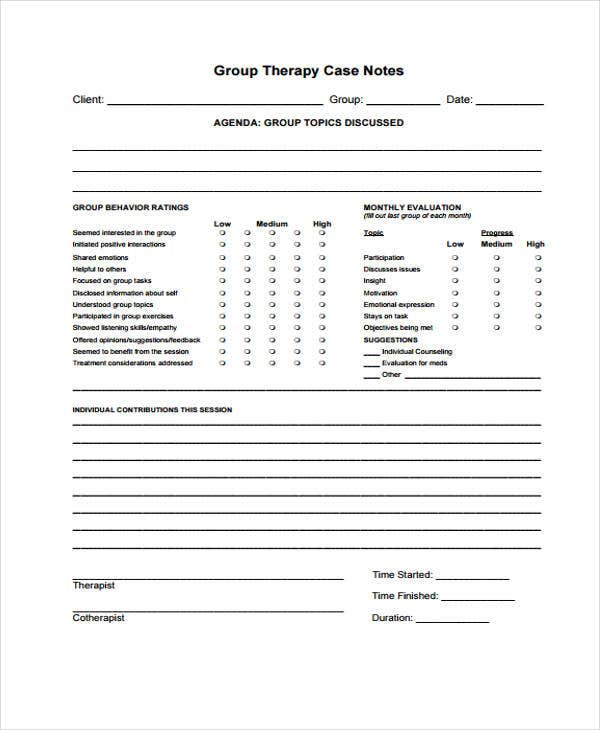 Therapy Note Templates   Free Word Pdf Format Download  Free