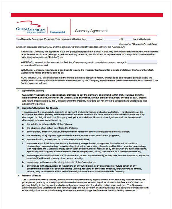 guaranty agreement example