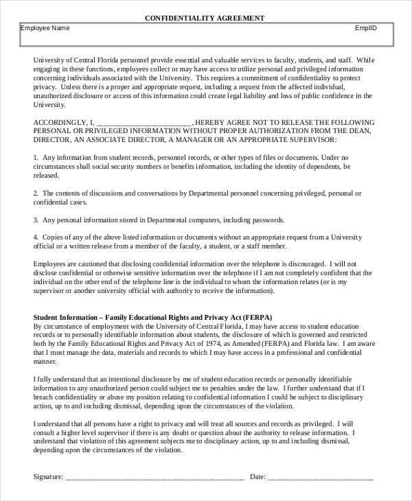 Hr agreement templates 6 free word pdf format download for Secrecy agreement template