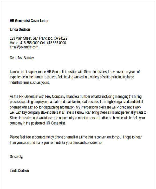 cover letter template human resources generalist