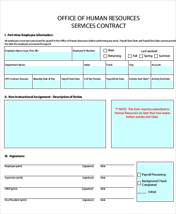 7 HR Contract Templates - Free Sample, Example Format Download ...