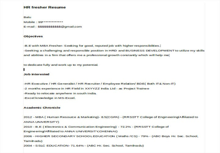 hr fresher resume