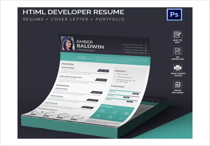 HTML5 Developer Resume Template