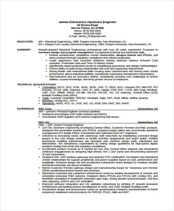 10+ Engineer Resumes Templates - PDF, DOC | Free & Premium Templates