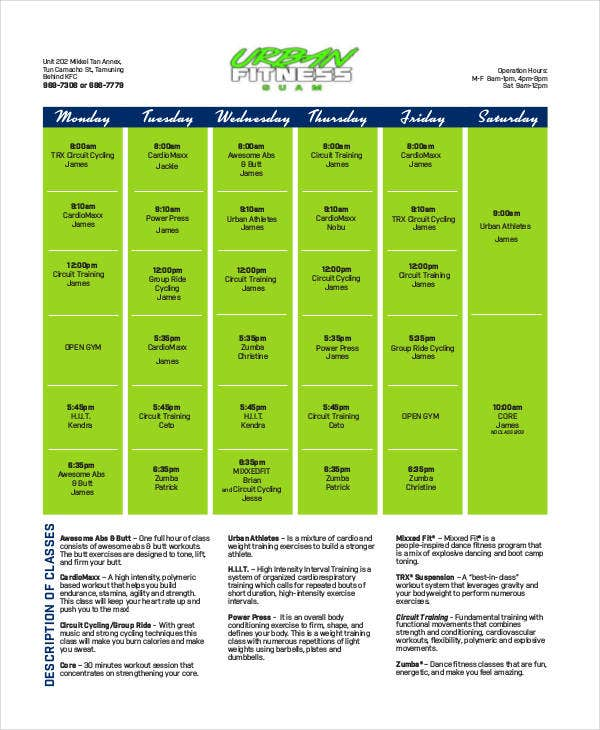 health and fitness calendar