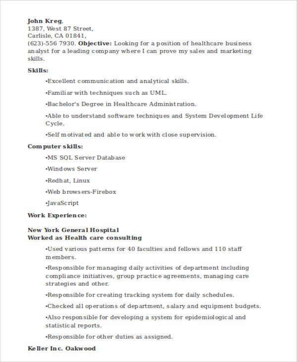 healthcare business analyst