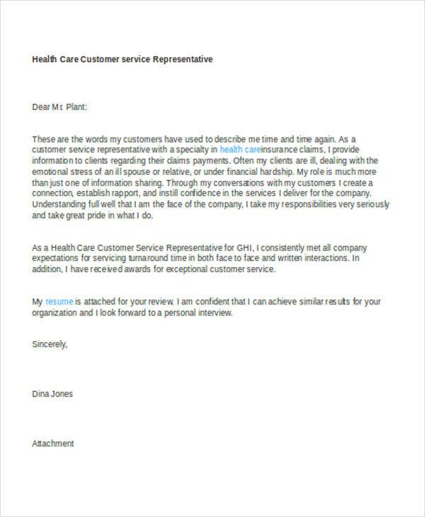 healthcare cover letter - Customer Service Position Cover Letter