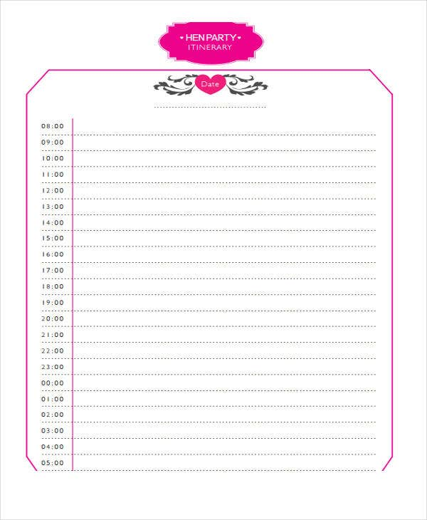 hen party itinerary