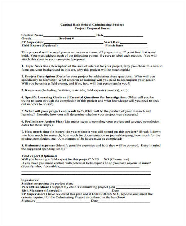 School Project Proposal Templates Free Sample Example Format