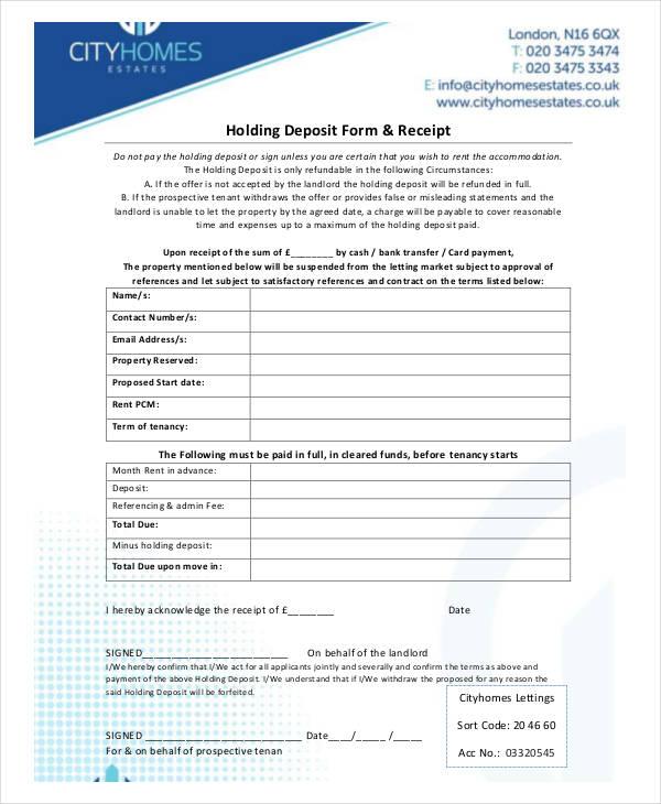 holding deposit