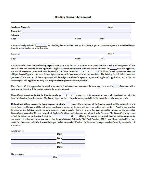 8+ Deposit Agreement Templates - Free PDF Format Download | Free ...