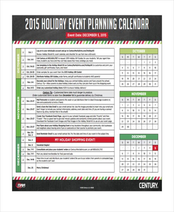 holiday calendar example