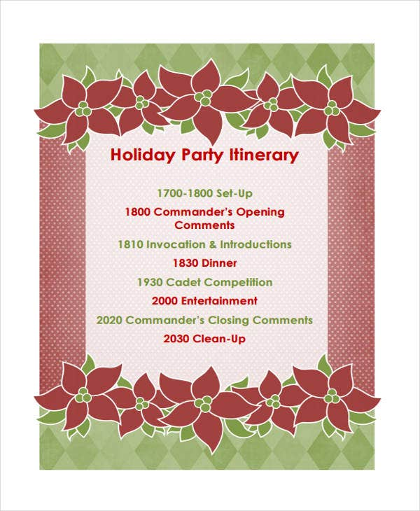 9  party itinerary templates