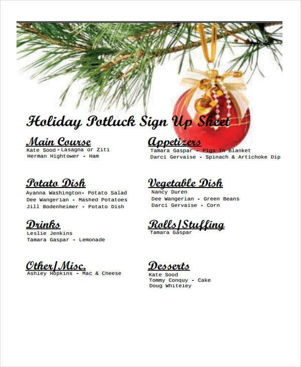 7 Potluck Signup Sheet Templates Free Sample Example Format – Holiday Sign Up Sheet Templates